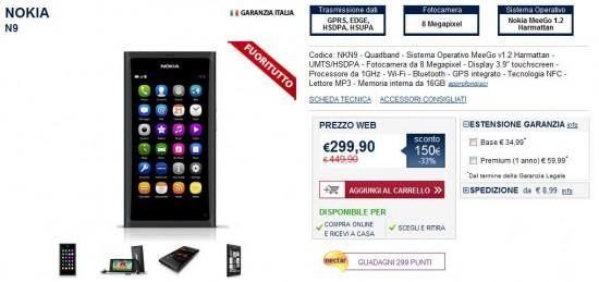 Nokia N9 in offerta su Unieuro