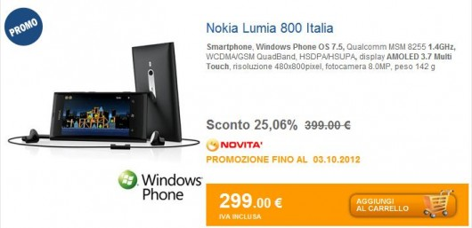 Nokia Lumia 800 in offerta