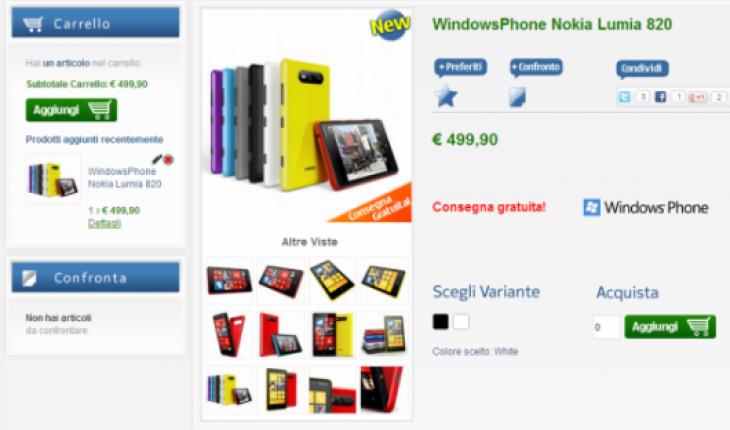 Nokia Lumia 820 in vendita su NStore