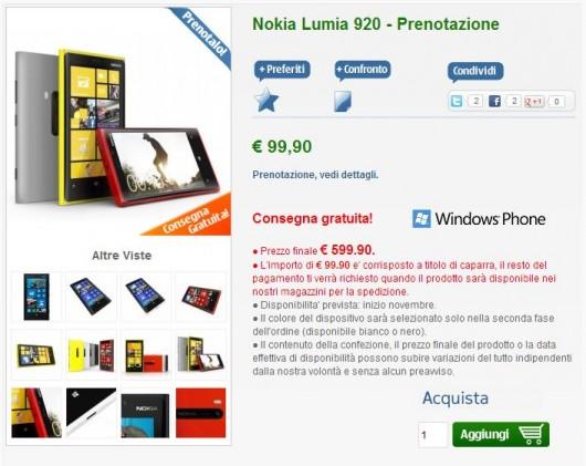 Nokia Lumia 920 in prenotazione su nstore.it