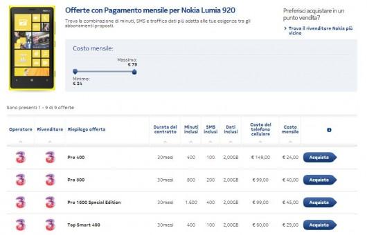 Nokia Lumia 920 con Tre