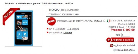 Nokia Lumia 800 su eldo.it