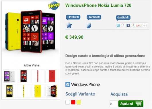 Nokia Lumia 720 su nstore.it