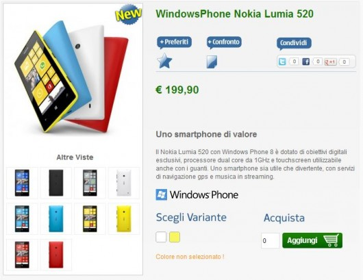 Nokia Lumia 520 su nstore.it