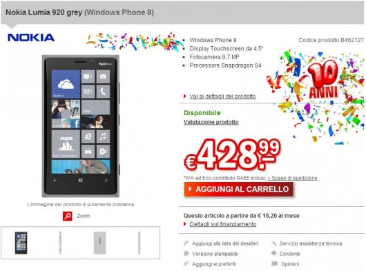 Nokia Lumia 920 Grey su redcoon.it