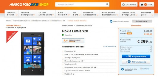 Nokia Lumia 920 in offerta