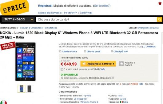 Nokia Lumia 1520 su ePrice