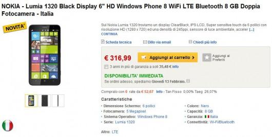 Nokia Lumia 1320 su ePrice