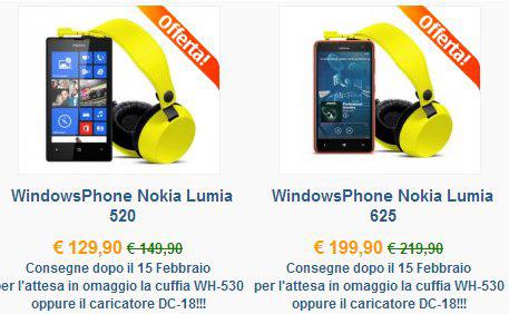 Nokia Lumia 520 e 625 in offerta