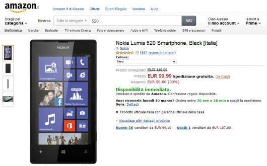 Nokia Lumia 520 su Amazon