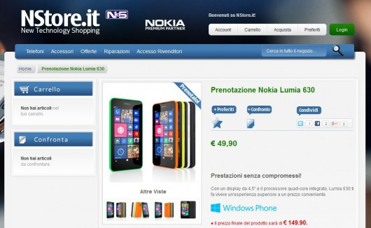 Nokia Lumia 630 su NStore.it