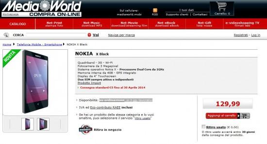 Nokia X da MediaWorld