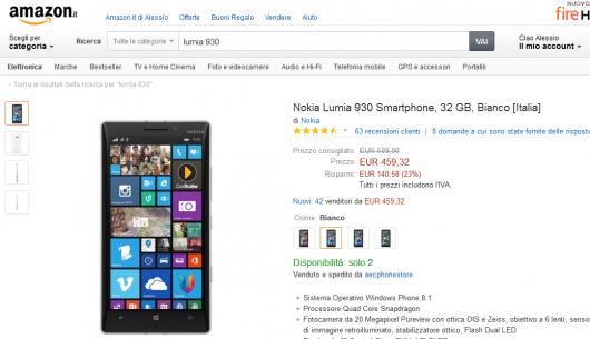 Lumia 930 su Amazon