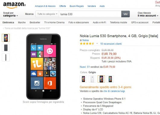 Nokia Lumia 530 a 79 Euro su Amazon