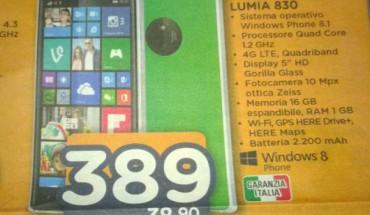 Nokia Lumia 830 a 389 Euro da Unieuro