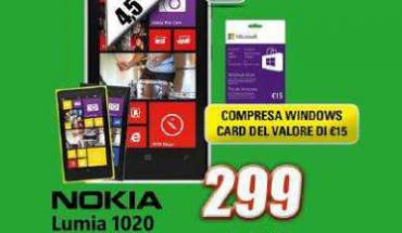 Nokia Lumia 1020 a 299 Euro presso i negozi Expert Domex