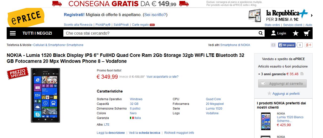 Offerta Nokia Lumia 1520