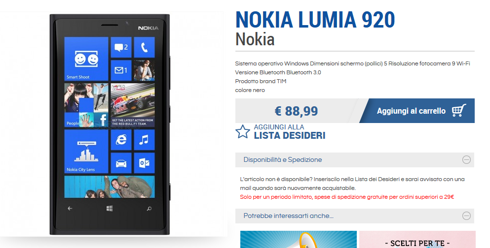 Nokia Lumia 920 TIM a soli 88,99 Euro su PosteShop