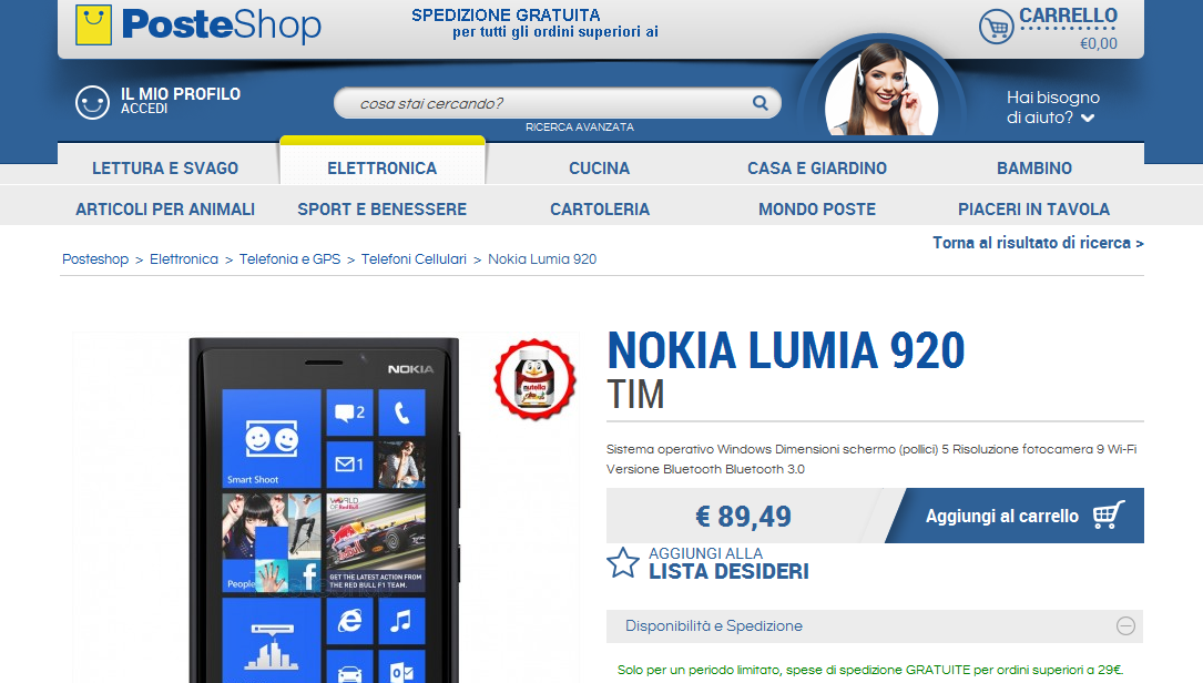 Nokia Lumia 920 TIM in offerta su PosteShop