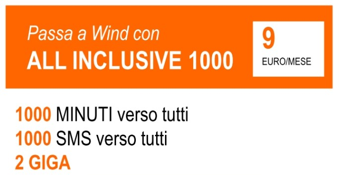 Orange Days: passa a Wind con All Inclusive 1000 e avrai 1000 minuti, 1000 SMS e 2 GB a 9 Euro