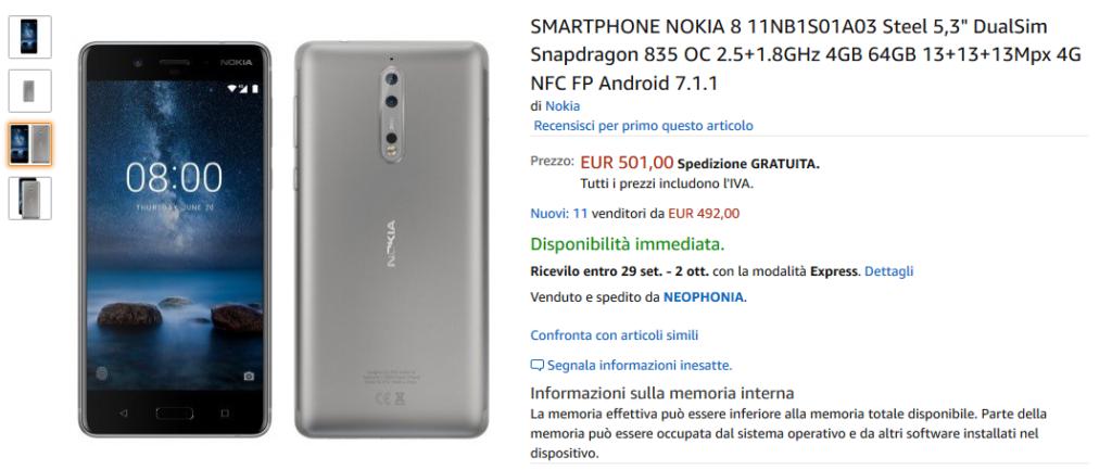 Offerta Amazon: Nokia 8