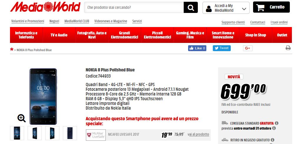 Nokia 8 con 6 GB di RAM e 128 GB di ROM
