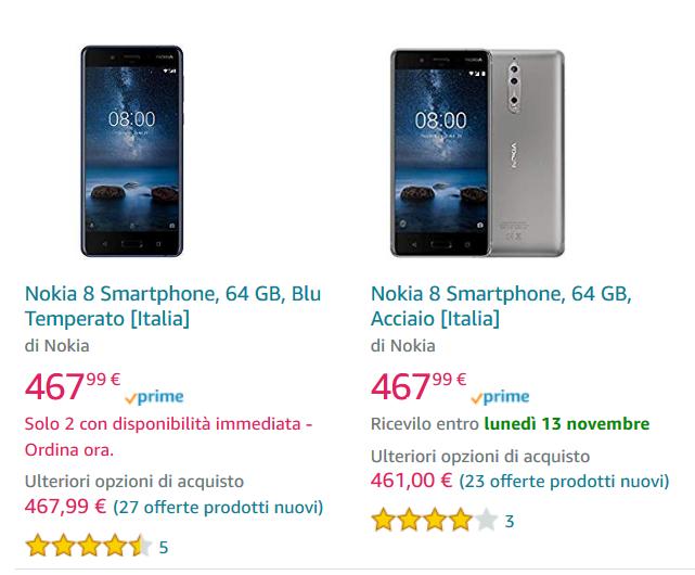 Offerta Amazon Nokia 8