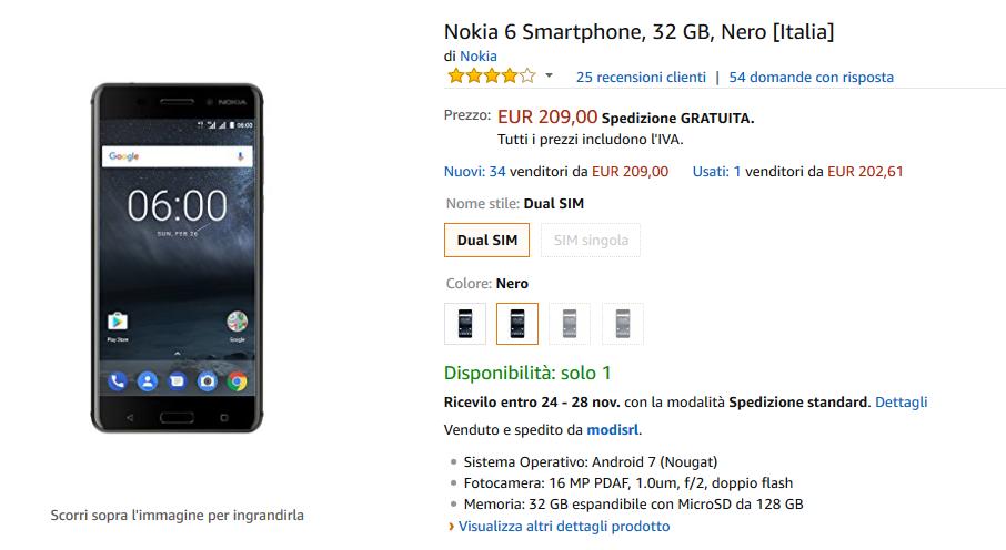 Nokia 6 in offerta su Amazon