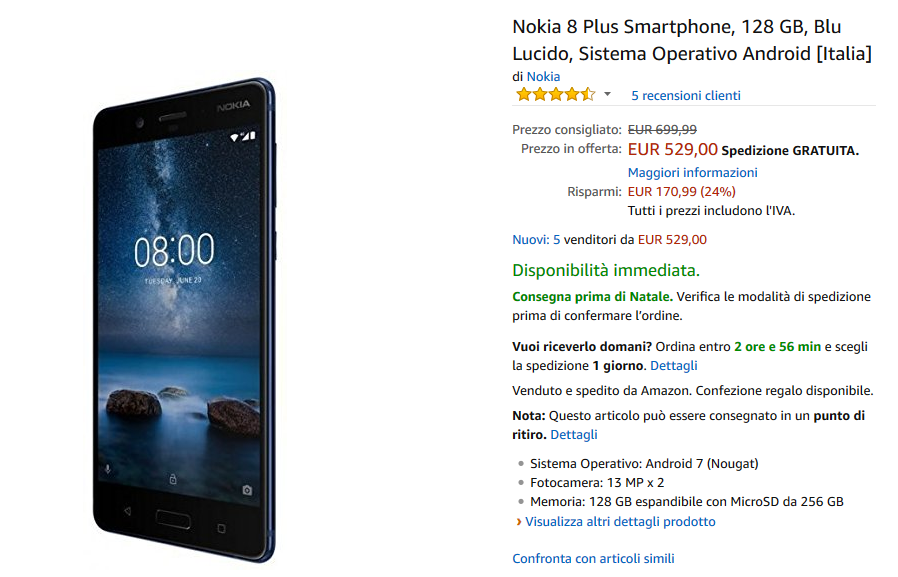 Nokia 8 Plus su Amazon