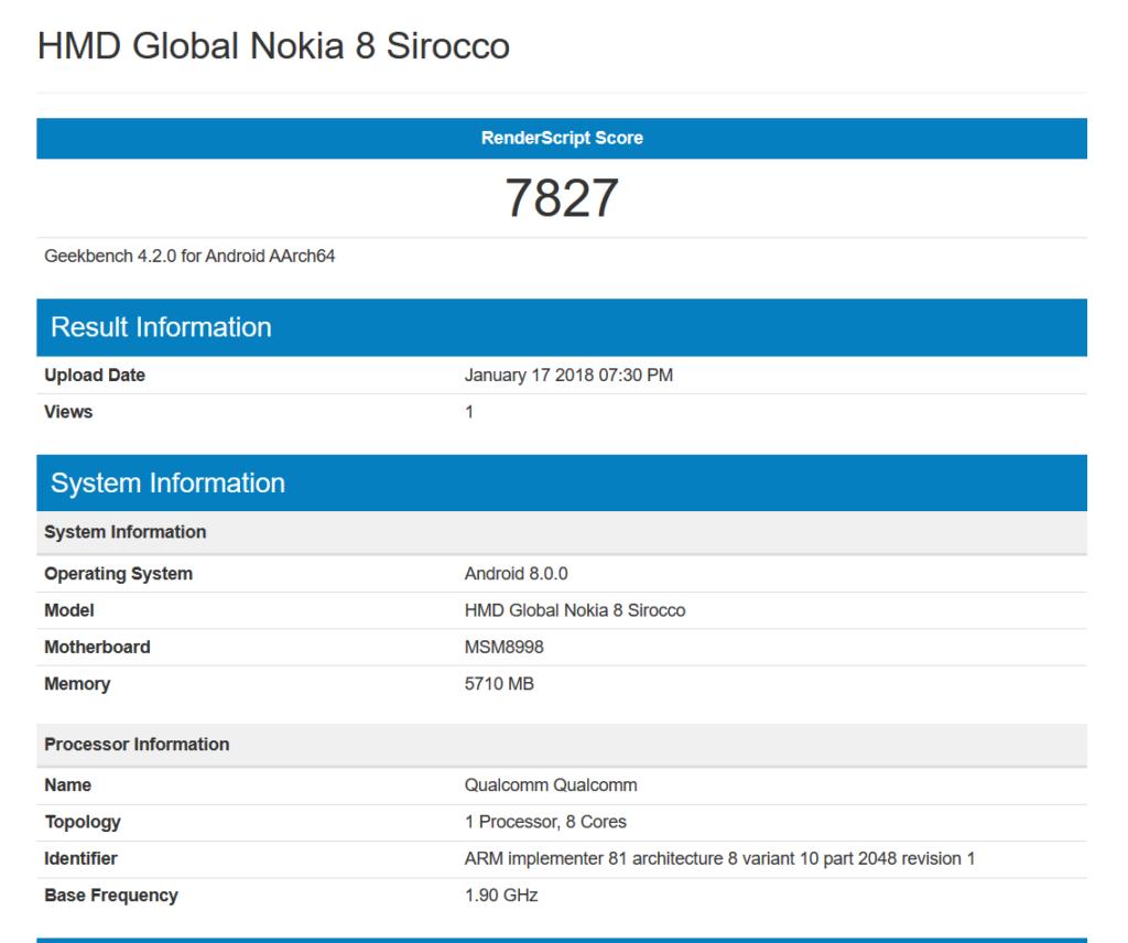 Nokia 8 Sirocco su Geekbench