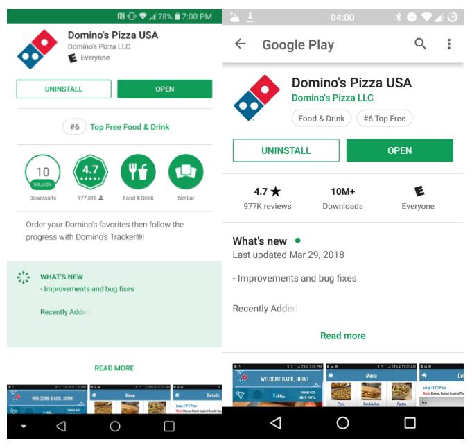 Google Play Store - A sinistra la vecchia versione, a destra la nuova