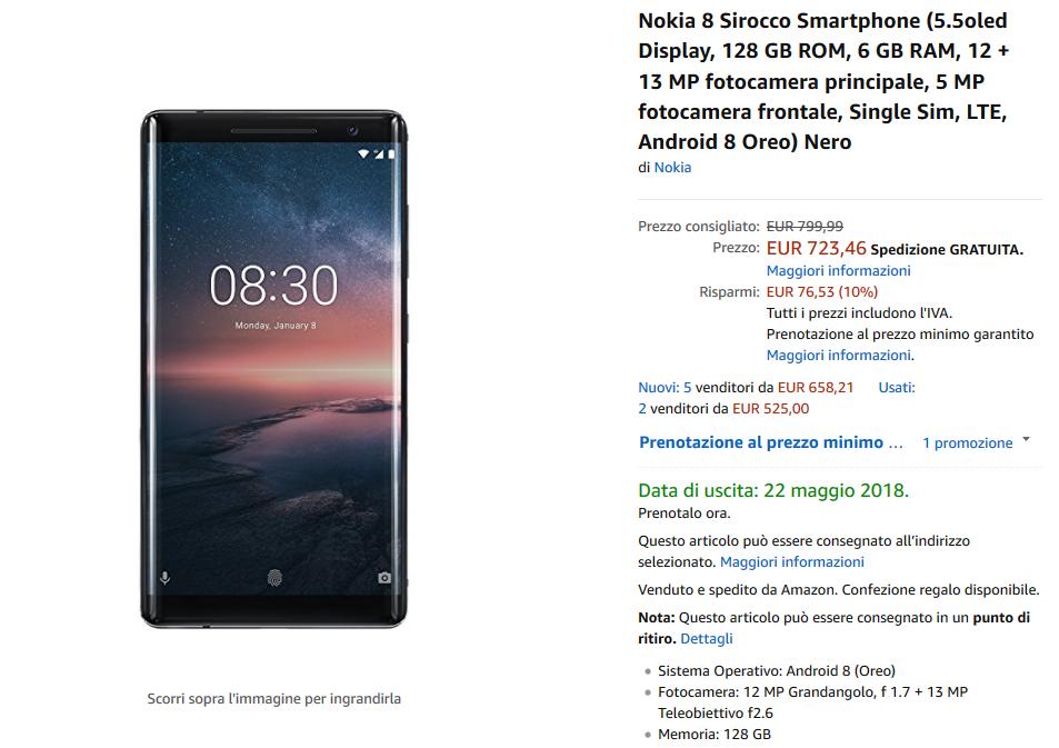 Nokia 8 Sirocco su Amazon