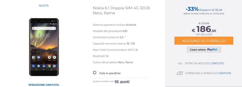 Offerta Unieuro Nokia 6.1