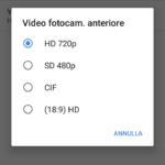 Risoluzione Video - Fotocamera anteriore