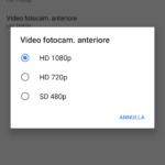 Risoluzione Video Fotocamera Frontale