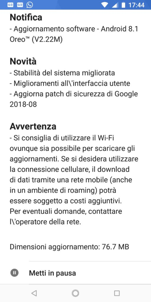 Update v2.22 per Nokia 7 Plus