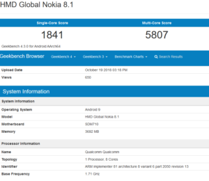 Nokia 8 1 - Geekbench Browser