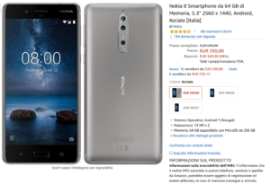 Nokia 8 in offerta su Amazon