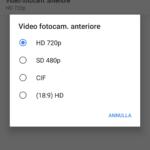 Risoluzione Video Fotocamera anteriore