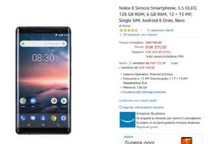 Nokia 8 Sirocco in offerta su Amazon