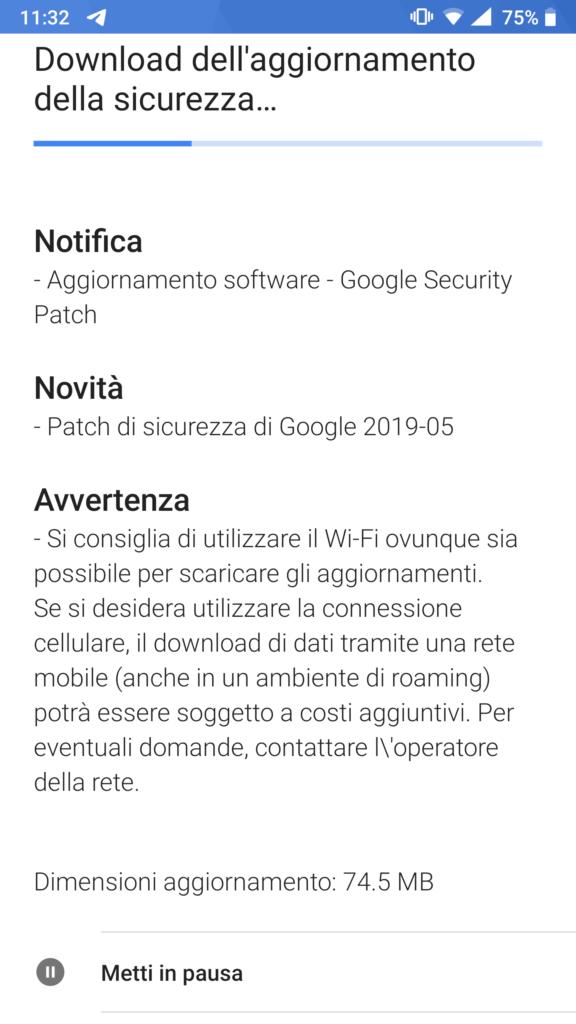 Patch sicurezza maggio 2019 - Nokia 8