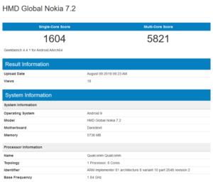 Nokia 7.2 su Geekbench